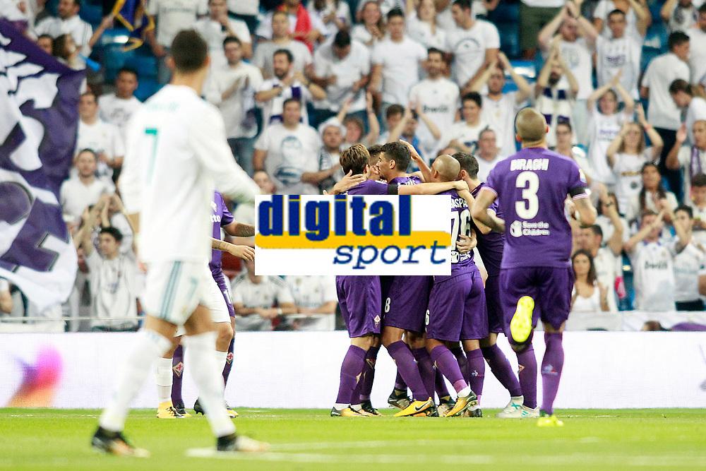 ACF Fiorentina's players celebrate goal during Santiago Bernabeu Trophy. August 23,2017. (ALTERPHOTOS/Acero)