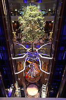 Celebrity Reflection departs on its preview sailing out of The Netherlands before beginning its European inaugural sailing on 12th October 2012 from Amsterdam..Lift atrium with tree.