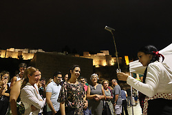 September 28, 2018 - 28 september 2018 (Malaga) On the occasion of the Vendimia festival, the grapes are being staged in front of the Roman theater, a place of confluence of the different cultures that have passed through Malaga, always linked to the wine, and in which the different vintages of the different areas of production in Malaga: Axarquia, Montes, Norte, Serrania de Ronda and Manilva, and which give rise to the wines with designation of origin ''Malaga'' and ''Sierras de Malaga' (Credit Image: © Lorenzo Carnero/ZUMA Wire)