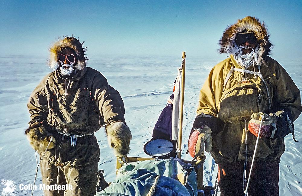 Wally Herbert (left) & Vic McGregor sledging on Liv Glacier, Polar Plateau January 1962,