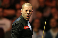 Barry Hawkins (Eng) reacts after missing a pot. Barry Hawkins (Eng) v Mark Selby (Eng) , Quarter-Final match at the Dafabet Masters Snooker 2017, at Alexandra Palace in London on Friday 20th January 2017.<br /> pic by John Patrick Fletcher, Andrew Orchard sports photography.
