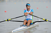 Chungju, South Korea. Sunday Heats, SLO LM1X. Rajko HRVAT, Moves away from the start on the openingt day of the 2013 FISA World Rowing Championships, Tangeum Lake International Regatta Course. 10:00:51  Sunday  25/08/2013 [Mandatory Credit. Peter Spurrier/Intersport Images]