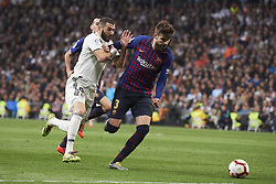 March 2, 2019 - Madrid, Madrid, Spain - Karim Benzema (forward; Real Madrid), Gerard Pique (defender; Barcelona) in action during La Liga match between Real Madrid and FC Barcelona at Santiago Bernabeu Stadium on March 3, 2019 in Madrid, Spain (Credit Image: © Jack Abuin/ZUMA Wire)