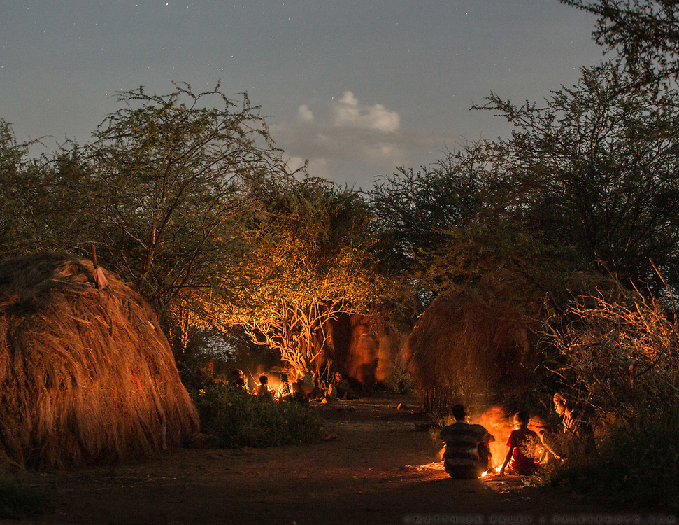Camp at night. At and near the Hadza camp of Dedauko.