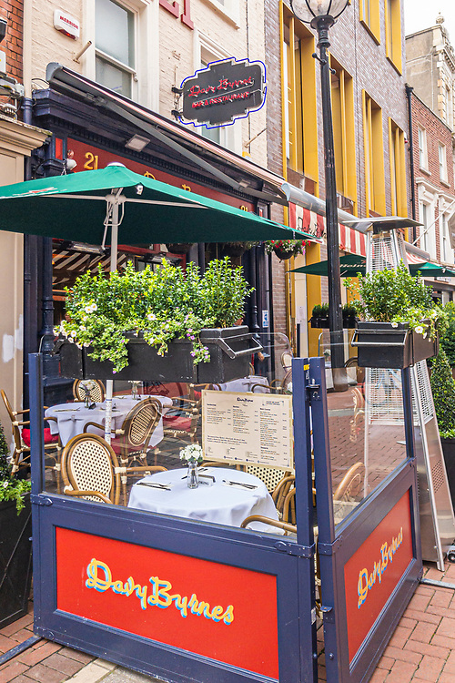 White linen is now the order on the extra outdoor tables due to the Covid-19 pandemic, at Davy Byrnes pub, on Duke Street, in Dublin 2