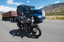 Bartek Mizerski riding his 1936 Sokol 1000 Polish motorcycle during Stage 10 (278 miles) of the Motorcycle Cannonball Cross-Country Endurance Run, which on this day ran from Golden to Grand Junction, CO., USA. Monday, September 15, 2014.  Photography ©2014 Michael Lichter.