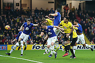Sebastian Prodl of Watford (c) heads the ball to score his sides 2nd goal. Premier league match, Watford v Everton at Vicarage Road in Watford, London on Saturday 10th December 2016.<br /> pic by John Patrick Fletcher, Andrew Orchard sports photography.