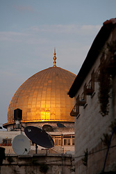 Middle East, Israel, Jerusalem, Dome of the Rock and satellite dishes
