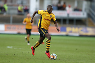 Frank Nouble of Newport County in action. The Emirates FA Cup, 2nd round match, Newport County v Cambridge United at Rodney Parade in Newport, South Wales on Sunday 3rd December 2017.<br /> pic by Andrew Orchard,  Andrew Orchard sports photography.