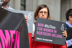 © Licensed to London News Pictures. 07/06/2018. London, UK. Campaigners outside the Supreme Court in London where the UK's highest court has said it could not rule on an appeal against Northern Ireland's strict abortion laws, but that it would have declared them incompatible with human rights laws otherwise. Photo credit: Rob Pinney/LNP