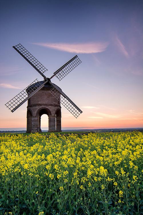 Chesterton Windmill, Warwickshire at sunset.