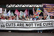 TUC March for the Alternative 26 March 2011 Union leaders lead the march from  Embankment, London.
