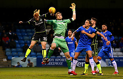 Rory Gaffney of Bristol Rovers challenges Tomas Holy of Gillingham - Mandatory by-line: Robbie Stephenson/JMP - 16/12/2017 - FOOTBALL - MEMS Priestfield Stadium - Gillingham, England - Gillingham v Bristol Rovers - Sky Bet League One