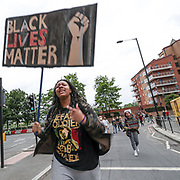 "Demonstrators chant ""Black Lives Matter"" on Wednesday, June 3, 2020, at the US Embassy in south London, during a protest over the death of George Floyd, who died on May 25 after he was restrained by Minneapolis police in the United States. (Photo/ Vudi Xhymshiti)"