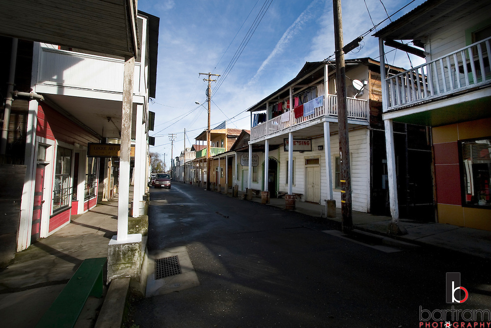 The view down Main Street in downtown Locke, California is shown on Monday, February 25, 2008. The town was formed by Chinese immigrants who leased the land from George Locke after the Chinatown in nearby Walnut Grove burned down in 1915. Today about 10 of the town's 90 residents are Chinese. (Photo by Kevin Bartram)