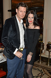 PERCY PARKER and AMY MOLYNEAUX at a dinner hosted by Amy Molyneaux and Percy Parker of fashion label PPQ to celebrate the PPQ AW 2015 collection 'Persephone' held at Braserie Chavot, 41 Conduit Street, London on 22nd February 2015.