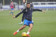 AFC Wimbledon attacker Harry Forrester (11) warming up during the EFL Sky Bet League 1 match between AFC Wimbledon and Blackpool at the Cherry Red Records Stadium, Kingston, England on 20 January 2018. Photo by Matthew Redman.