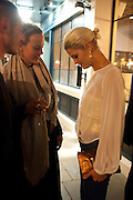 BAY GARNETT; PIXIE GELDOF, Leaving dinner for Kate Phelan given by Alex Shulman and Mary Homer. Riding House Cafe. Great Titchfield st. London. 20 September 2011. <br /> <br />  , -DO NOT ARCHIVE-© Copyright Photograph by Dafydd Jones. 248 Clapham Rd. London SW9 0PZ. Tel 0207 820 0771. www.dafjones.com.