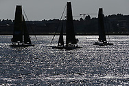 Cardiff , UK , bank holiday Monday 28th August 2017.  action from the Extreme Sailing series 2017, day 4 , act 6 of the series, Cardiff Bay. pic by Andrew Orchard
