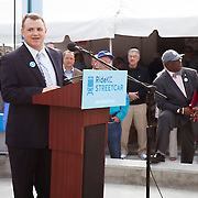 Tom Gerend of Kansas City Streetcar Constructors at ribbon cutting ceremony for the first completed Kansas City Streetcar platform at 16th & Main Streets, downtown Kansas City, MIssouri on April 24th, 2015.