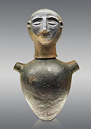End of 7th to start of 6th century B.C Etruscan Canopo style vase used to hold funereal ashes from Chiusi, inv 94611, National Archaeological Museum Florence, Italy , against grey .<br /> <br /> If you prefer to buy from our ALAMY PHOTO LIBRARY  Collection visit : https://www.alamy.com/portfolio/paul-williams-funkystock - Scroll down and type - Etruscan Florence - into LOWER search box. (TIP - Refine search by adding a background colour as well).<br /> <br /> Visit our ETRUSCAN PHOTO COLLECTIONS for more photos to download or buy as wall art prints https://funkystock.photoshelter.com/gallery-collection/Pictures-Images-of-Etruscan-Historic-Sites-Art-Artefacts-Antiquities/C0000GgxRXWVMLyc