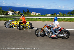 Arlen Ness and Roland Sands ride side by side in Puerto Rico for the filming of the end of a Discovery Channel Biker Build-Off. Photography ©2004 Michael Lichter.
