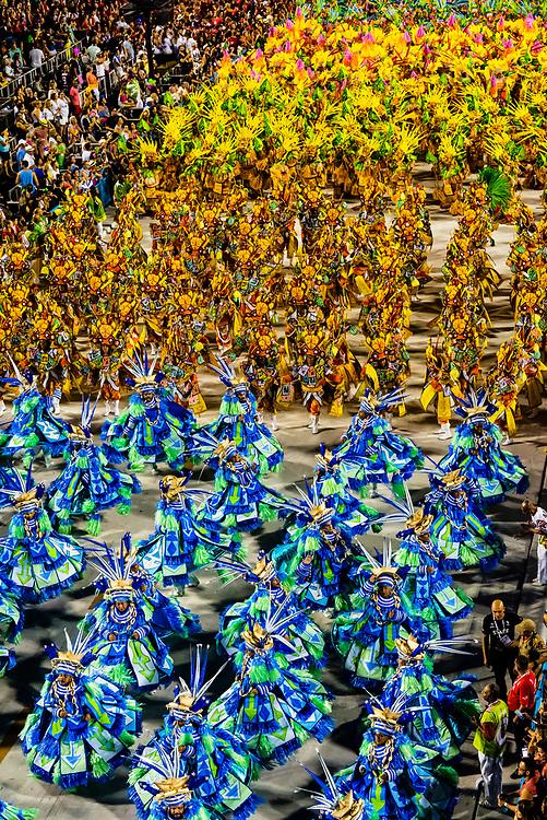 Carnaval parade of Grande Rio samba school in the Sambadrome, Rio de Janeiro, Brazil.