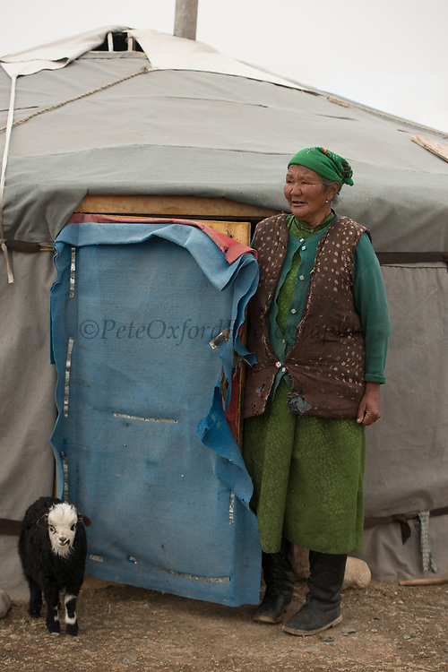 Kazakh Ger with goat<br /> Altai Mountains<br /> Bayan Olgii Province<br /> Western Mongolia