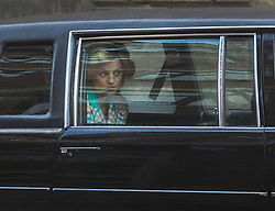 © Licensed to London News Pictures. 08/02/2020. Manchester, UK. Actress Emma Corrin is seen in a limo as she plays Diana, Princess of Wales,  as Manchester's Northern Quarter is transformed into New York for filming of a scene from Series 4 of The Crown. The Netflix series has been filming a scene where Princess Diana visited Henry Street Settlement in New York during her official visit in February 1989. Photo credit: Stephen Cottrill/LNP