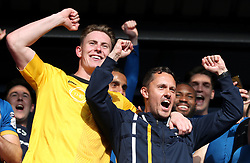 Shrewsbury Town's manager Paul Hurst (right) celebrates with goalkeeper Dean Henderson at the end of the Sky Bet League One play-off second leg match at Montgomery Waters Meadow, Shrewsbury.