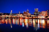 Portland Skyline & Willamette River @ Twilight (3)