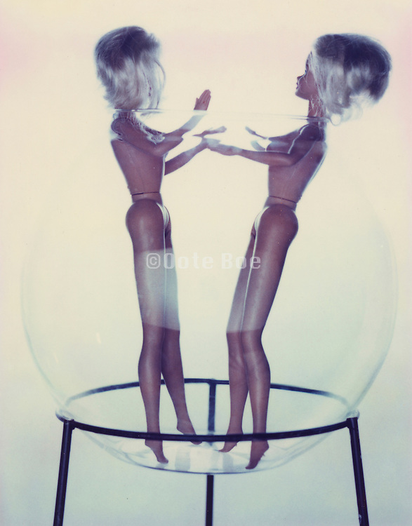 Two naked barby like dolls in a glass bowl