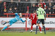 1-0, goal scored by  Jordan Clark of Accrington   during the EFL Sky Bet League 1 match between Accrington Stanley and AFC Wimbledon at the Fraser Eagle Stadium, Accrington, England on 1 February 2020.