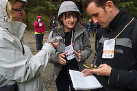 Adriana being interviewed by The Guardian and Süddeutsche Zeitung,  at the release of European bison, Bison bonasus, in the Tarcu mountains nature reserve, Natura 2000 area, Southern Carpathians, Romania. The release was actioned by Rewilding Europe and WWF Romania in May 2014.