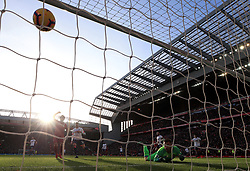 Liverpool's Georginio Wijnaldum scores his side's second goal of the game during the Premier League match at Anfield, Liverpool.