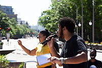 """Christian Xavier Calhoun, 21, speaks at a #YouthSpeakUP gathering in solidarity with the """"Black Lives Matter"""" movement onSaturday, June 13 in Washington, D.C. The event began with a youth discussion at 10:00 am at Freedom Plaza and conclude with a peaceful protest walk to """"Black Lives Matter Plaza,"""" joining hundreds of marchers from all over the country demonstrating against racial injustice in the United States."""