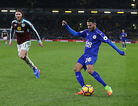 Leicester City's Riyad Mahrez avoids the challenge of Burnley's Jeff Hendrick<br /> <br /> Photographer Stephen White/CameraSport<br /> <br /> The Premier League - Burnley v Leicester City - Tuesday 31st January 2017 - Turf Moor - Burnley<br /> <br /> World Copyright © 2017 CameraSport. All rights reserved. 43 Linden Ave. Countesthorpe. Leicester. England. LE8 5PG - Tel: +44 (0) 116 277 4147 - admin@camerasport.com - www.camerasport.com<br /> <br /> Photographer Stephen White/CameraSport<br /> <br /> The Premier League - Burnley v Leicester City - Tuesday 31st January 2017 - Turf Moor - Burnley<br /> <br /> World Copyright © 2017 CameraSport. All rights reserved. 43 Linden Ave. Countesthorpe. Leicester. England. LE8 5PG - Tel: +44 (0) 116 277 4147 - admin@camerasport.com - www.camerasport.com