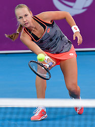 DOHA, Feb. 13, 2019  Anna Blinkova of Russia hits a return during the women's singles first round match between Anna Blinkova of Russia and Anastasija Sevastova of Latvia at the 2019 WTA Qatar Open in Doha, Qatar, Feb. 12, 2019. Anna Blinkova won 2-0. (Credit Image: © Nikku/Xinhua via ZUMA Wire)
