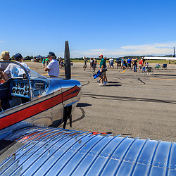 Lancaster, PA, USA - August 22, 2015: Planes on the Tarmac at the Community Days at the Lancaster Airport.