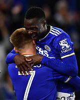Football - 2021 / 2022 UEFA Europa League - Group C, Round One - Leicester City vs Napoli - King Power Stadium - Thursday 16th September 2021<br /> <br /> Leicester City's Patson Daka congratulates Harvey Barnes on scoring the 2nd goal.<br /> <br /> COLORSPORT/Ashley Western