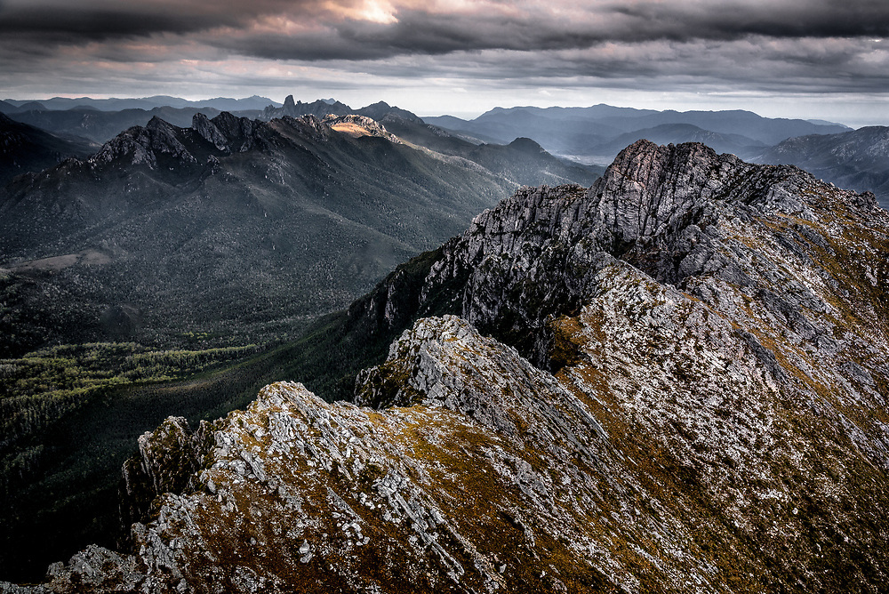 Arial view to Federation Peak and Eastern Arthurs Range over West Portal in Southwest Tasmania