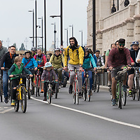 Tens of thousands of people participate the I Bike Budapest event to ride together demonstrating the importance and popularity of bicycle as a mean of everyday city transportation in Budapest, Hungary on April 28, 2019. ATTILA VOLGYI