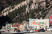 View down the main street of Ouray, Colorado.