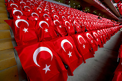 A general view of flags on the seats before the international friendly match at the Antalya Stadium.