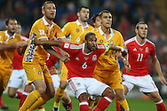Ashley Williams of Wales keeps his eye on the ball during a corner. Wales v Moldova , FIFA World Cup qualifier at the Cardiff city Stadium in Cardiff on Monday 5th Sept 2016. pic by Andrew Orchard, Andrew