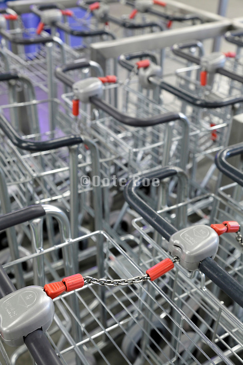parked luggage carts at airport