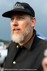 Harley-Davidson Vice President of Styling & Design Brad Richards at the Spirit of Sturgis antique motorcycle flat track race at the historic Sturgis Half Mile during the 78th annual Sturgis Motorcycle Rally. Sturgis, SD. USA. Monday August 6, 2018. Photography ©2018 Michael Lichter.