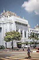 Beautiful old colonial architecture in downtown Yangon, Burma.