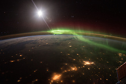 January 20, 2016 - Earth Atmosphere - NASA astronaut Scott Kelly took this majestic image of the Earth at night highlighting the green and red hues of an Aurora. He tweeted this message along with the image: The dance of aurora. YearInSpace (Credit Image: ? Scott Kelly/NASA via ZUMA Wire/ZUMAPRESS.com)