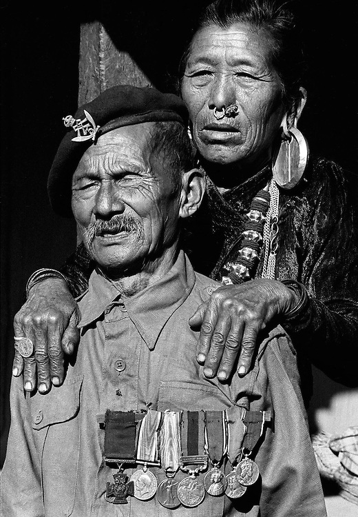 Gurkha VC holder Seagant Nabahadur Thapa with his wife in their village Litung, Nepal in 1969. Photographed by Terry Fincher